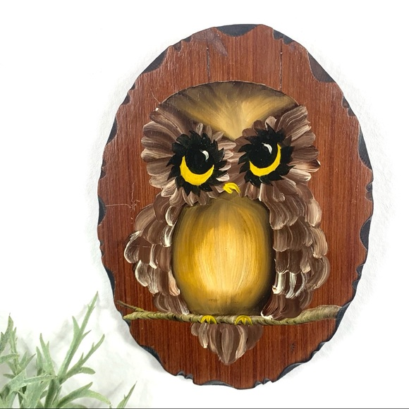 Wood Owl Wall Plaque Home Decor Hand Painted